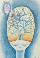 Jean-Michel Folon Avec Une Aquarelle De 1980  - Timbre Illustrant L'oeuvre - Maximaphilie - 1981 - Ecrivains