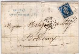 PARIS (K) - Lettre (LAC)  Avec  Yvert 14 B Adressée A BORDEAUX  (71385) - Marcophilie (Lettres)