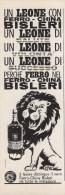 # FERRO-CHINA BISLERI 1950s Advert Pubblicità Publicitè Reklame Drink Liquor Liquore Liqueur Licor Alcohol Bebidas Lion - Manifesti
