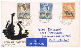0579// KENYA/ UGANDA/ TANGANYIKA - Cover 5.7.1954, Michel # 92, 95, 96   To  Germany - Kenya, Uganda & Tanganyika