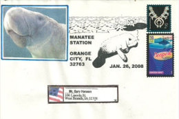 USA. Le Lamantin (Manati)  Enveloppe Souvenir D´Orange City, Floride, Année 2008 - Schmuck-FDC