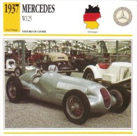 Fiche  -  Formula 1 Grand Prix Cars  -  Mercedes W125  -  Carte De Collection - Grand Prix / F1