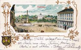 Litho Golddruck Prägekarte PRATERSTERN WIEN II Gelaufen 1903 Stempel Wien + Jilemnice - Prater