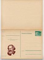 DDR P85-1a-83 C1-a Antwort-Postkarte FEHLDRUCK SCHWARZ FEHLEND Zudruck AK Ganzsachen - Karl Marx