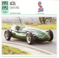 Fiche  -  Formula 1 Grand Prix Cars  -  Alta Grand Prix  (1951)  -  Carte De Collection - Grand Prix / F1