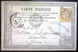 Cachet Type 16 + GC 3844  --  ST SAUVEUR EN PUISAYE  --  YONNE  --  LAC  --  1874 - Marcophilie (Lettres)