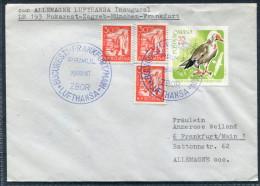 1957 Romania Bukarest - Zagreb - Munchen - Frankfurt Lufthansa First Flight Cover - Aéreo