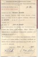 DIRECCION NACIONAL DE TRANSPORTES DNT REPUBLICA ARGENTINA CREDENCIAL DE JEFE DE SECCION AÑO 1947 ORIGINAL - Documenti Storici