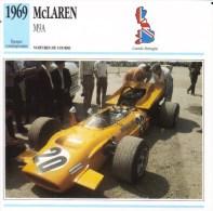 Fiche  -  Formula 1 Grand Prix Cars  -   McLaren M9A   (1969)  -  Pilote Derek Bell  -  Carte De Collection - Grand Prix / F1
