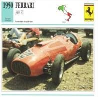 Fiche  -  Formula 1 Grand Prix Cars  -   Ferrari 340   (1950)   -  Carte De Collection - Grand Prix / F1