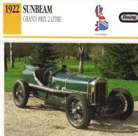 Fiche  -  Formula 1 Grand Prix Cars  -   Sunbeam 2 Litres   (1922)    -  Carte De Collection - Grand Prix / F1