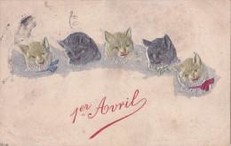 CPA. TUCK RAPHAEL & FILS. Un  Mot à La Poste. Cinq Chatons Sur Fond Argenté; 1 Er Avril. Chats - Tuck, Raphael
