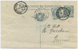 1911 CERCHIO PICCOLO SARDO ITALIANO CORIGLIANO 6 AGO 11 ANNULLATORE C.P.R.P. LEONI C.5 A GENOVA – USO MOLTO TARDO (A314) - 1900-44 Vittorio Emanuele III