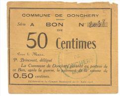 @ RARE BON DE 50 CENTIMES COMMUNE DE DONCHERY 08 ARDENNES REMBOURSABLE APRES LA GUERRE - Bonds & Basic Needs