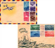 2L+2L, 5L+5L, 8L+8L, 10L+10L, And 2L+2L, 5L+5L, 8L+8L, 10L+10L Air And Sea Communications Day Semi-Postal 1948 Rep... - 1948-.... Repubbliche