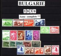 BULGARIA \ BULGARIE - 1939 - Anne Complet** - Yvert No 354/74 + Ex 16/20; Mi 354/74 - Stamps
