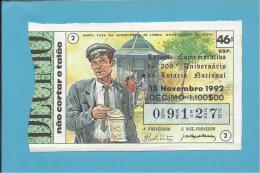 LOTARIA NACIONAL - 46.ª ESP. - 13.11.1992 - CAUTELEIRO - 208.º ANIVERSÁRIO - Portugal - 2 Scans E Description - Lottery Tickets
