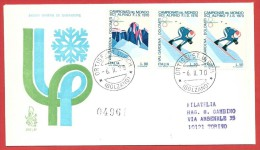 ITALIA REPUBBLICA FDC VENETIA RACCOMANDATA - 1970 - Campionati Mondiali Di Sci Alpino - ANN. ORTISEI (BZ) - 1946-.. Republiek