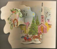 Bonne Annee, Happy New Year, Winter Idyll,church,horse Sleigh, Hiver Idyll, Eglise,traîneau,CARTE A SYSTEME POP UP,3D, - Nouvel An
