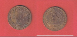 INDOCHINE   //  1 CENTIME 1889 A   //  KM # 1.  //  ETAT  TB - Colonies