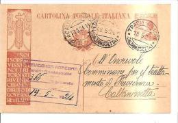 61183) CARTOLINA POSTALE NOI SOPRAVVISSUTI 30 CENT.18-5-24.DA TRABIA A CALTANISSETTA - 1900-44 Victor Emmanuel III