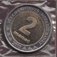 TURKMENISTAN 2 MANAT 2010 BIMETAL - Turkménistan