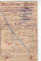 #3411 Gastronomy,Judaica,1910 Post.stat.invoice Of Mauthner O. Bp. To Sallak Dezso Dealer In Kolozsvar, Transylvania (1) - Autriche