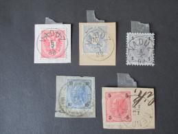Liechtenstein Vorläufer (Österreich) 5 Werte / Briefstücke. Saubere Stempel! Katalogwert 550€ - Liechtenstein