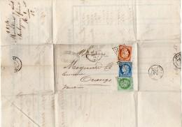 TB 255 - TB Type Cérès N°38 & 53 & 60 Sur Lettre Banque OB MONTELIMAR Pour ORANGE - 1849-1876: Période Classique