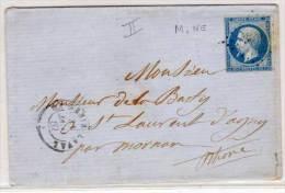 SAINT GENIS LAVAL (Rhone) Enveloppe - PC 3079 (Ind.5) Sur Yvert 14 B Destinée A SAINT LAURENT D' AGNY (71400) - Marcophilie (Lettres)