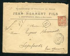 Lettre Recommandée De Louvigné Du Désert Pour Septfonds 1899 - Marcophilie (Lettres)