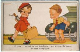 LITHO ANCIENNE Illustrateur Gougeon Fille Fillette Garcon Panne Voiture Campagne Voyagé 1950 Timbre Oran Algerie Alger - Gougeon