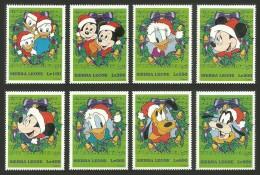 SIERRA LEONE 1997 DISNEY CHRISTMAS MUSIC NOTATION DOGS PLUTO GOOFY MICKEY MNH - Disney