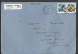 USA 1988 Airmail Owl/Grosbeak/Birds/Raptors/Flowers/Nature, Postal History Cover Sent To Pakistan - Brieven En Documenten
