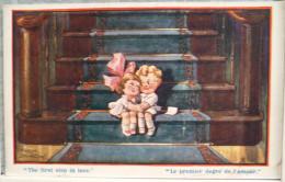 Litho Chromo Illustrateur Fred SPURGIN Serie TINY TOTS  N° 371 Enfant Enfants Sur Escalier Premier Degré De L Amour - Spurgin, Fred