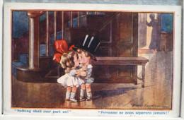 Litho Chromo Illustrateur Fred SPURGIN Serie TINY TOTS  N° 374 Couple Enfants Baiser Escalier Personne Separera Jamais - Spurgin, Fred