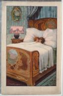 Litho Chromo Illustrateur BERTIGLIA SERIE 2232 Enfant Duo Enfants Couchés Dans Grand Lit - Bertiglia, A.
