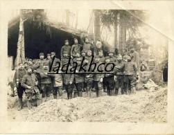 Photo GROUPE HOMMES MILITAIRES # POILUS # 34° REGIMENT ARTILLERIE # SECTION DE MUNITIONS # FEVRIER 1915 - Guerre, Militaire