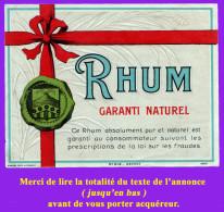 Étiquette Ancienne N°5 De RHUM. Distillerie Indéterminée. Bon état. Voir Description Bien Détaillée. - Rhum