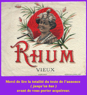 Étiquette Ancienne N°6 De RHUM Vieux. Distillerie Indéterminée. Bon état. Voir Description Bien Détaillée. - Rhum