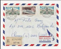 Lettre Recommandée De Saint Pierre Et Miquelon De 1970 Pour Les USA - YT N° 389 X 2 Et 400 - Monument Aux Morts - UPU - St.Pierre Et Miquelon