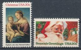 1983 USA Christmas Seasons Greeting Stamps Sc#2063-64 Madonna And Child Santa - Stati Uniti