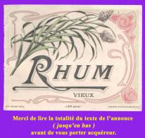 Étiquette Ancienne N°7 De RHUM Vieux. Distillerie Indéterminée. Bon état. Voir Description Bien Détaillée. - Rhum