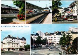 Rennes: TRAIN, CITROËN CX BREAK, SIMCA 1100, RENAULT 5 - Place De La Gare Et Les Hotels    France - Turismo