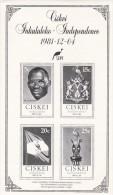 South Africa Ciskei 1981 Independence Souvenir Sheet MNH - Ciskei