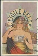L'Etoile Belge. Quotidien liberal Bruxellois. Illustration style Mucha. Femme aux longs cheveux, �toile de David. 3 scan