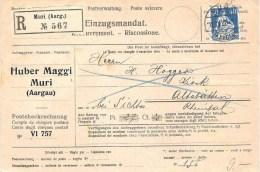 R-Einzugsmandat Mit O MURI (AARGAU) 12.IV.22 Mit Zu 161 Mi 170xb Als EF Nach Altstätten (Zu CHF 6.00) - Schweiz