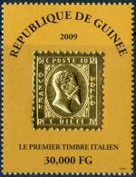 RIPRODUZIONE DEL PRIMO FRANCOBOLLO ITALIANO SU LAMINA D'ORO DA GUINEA 2009 - 1861-78 Victor Emmanuel II.