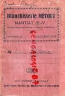 87 - NANTIAT - CARNET BLANCHISSERIE METOUT - MME TEILLOUX - Frankreich