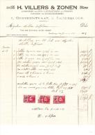 1928 Brief Lettre Factuur Invoice Villers En Zonen Ongerijstraat Gentbrugge Aannemer Daken - Belgique